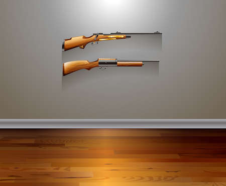 gun room: Two classic design of rifles hanging on the wall