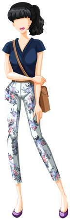 fashion design: Female model wearing shirt and pants Illustration