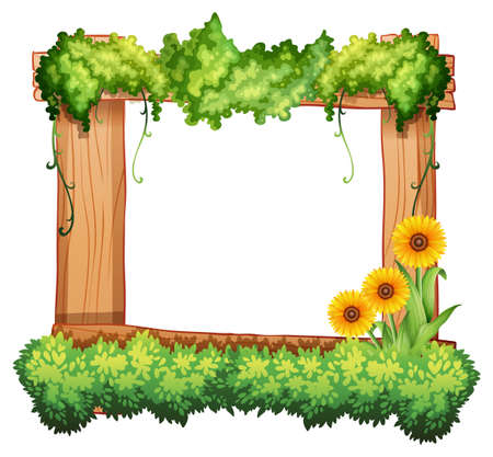 sunflowers: Wooden frame decorated with plants and sunflowers