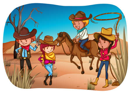 riding boot: Cowboys and cowgirls standing in the desert Illustration