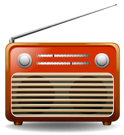 retro radio: Orange retro radio on white background