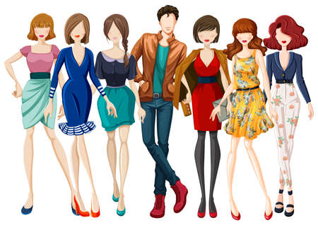 fashion illustration: Many models wearing fashionable clothes