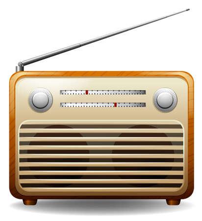 白い背景の上の木造レトロなラジオ