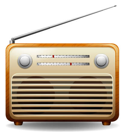 Wooden frame retro radio on white background