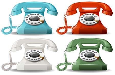 4 가지 색상 레트로 전화 일러스트
