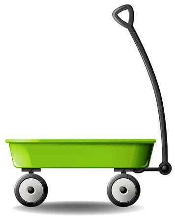 spacious: Retro green wagon on white background Illustration