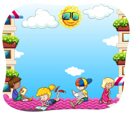 Group of children sitting on the rooftop reading books and newspaper Vector