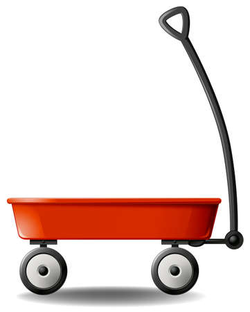 car garden: Close up plain design of red wagon Illustration