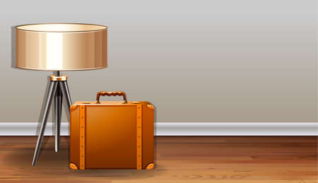 belongings: Briefcase and lamp in an empty room Illustration