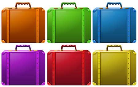 Different colors of classic design suitcases