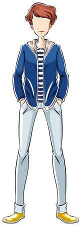 male model: Male model wearing jacket and jeans Illustration