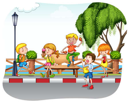 child sitting: Children on the street walking and eating