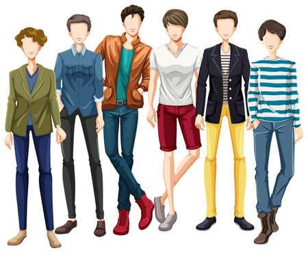 modelos hombres: Los modelos masculinos vistiendo ropa de dise�o moderno Vectores