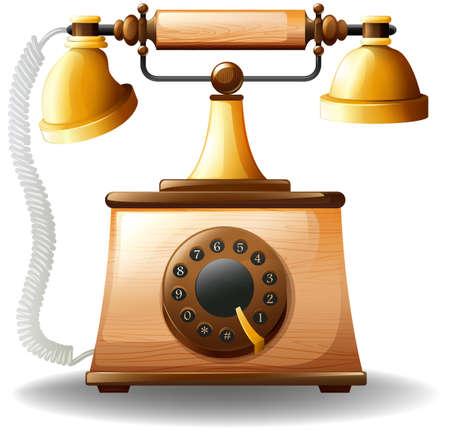 vintage phone: Close up luxury design of vintage phone Illustration