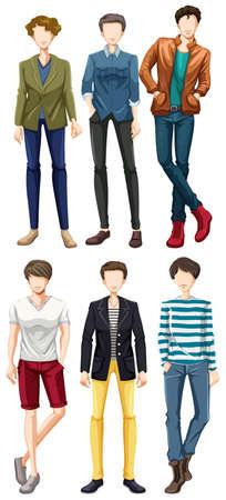 mannequins hommes: Groupe de mod�les masculins portant des v�tements � la mode
