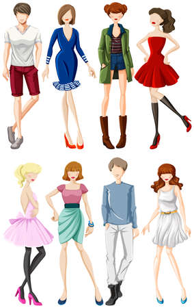 tred: Group of male and female models wearing casual clothes