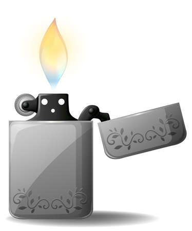 Metal lighter with fire lit up Vector