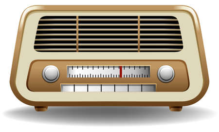 Gloden color frame radio on white background Vector