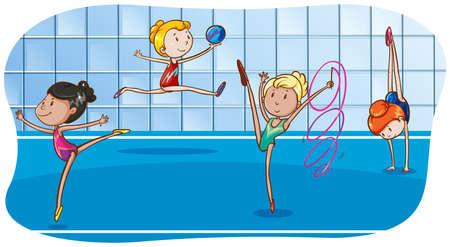 gymnastique: Quatre jeunes filles pratiquant leurs compétences de gymnastique