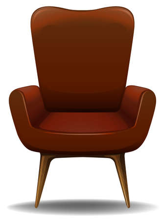 Close up luxury design of armchair with wooden legs Illustration