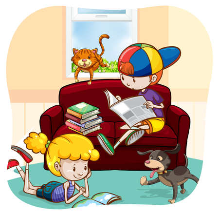 child sitting: Boy and a girl reading books and newspaper with pets walking around