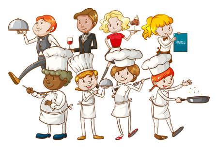 restuarant: Group of restuarant workers on a white background Illustration