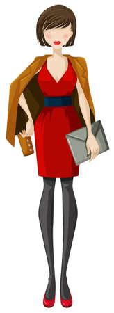 클러치: 클러치와 빨간 드레스와 갈색 코트에서 여자의 스케치 일러스트