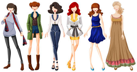fashion design: Female models wearing dresses and jeans