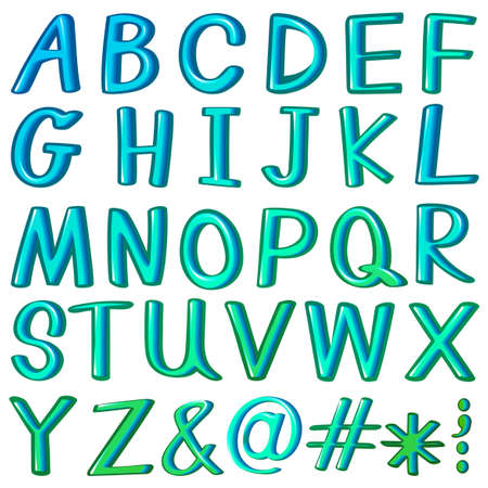 preschool poster: Alphabets and symbols in aqua blue color Illustration
