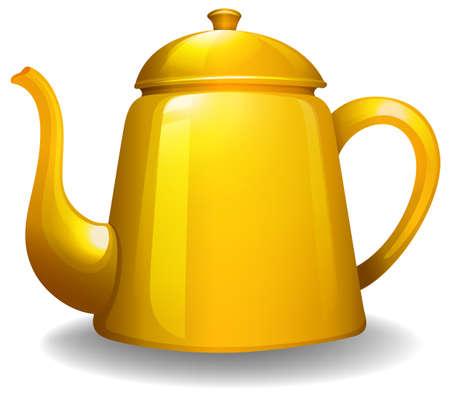 yellow tea pot: Close up simple design of yellow kettle