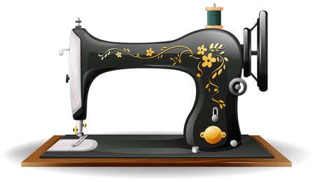 재봉틀의 클래식 한 디자인을 닫습니다 일러스트