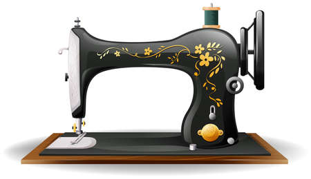 Close up classic design of sewing machine Stock Illustratie