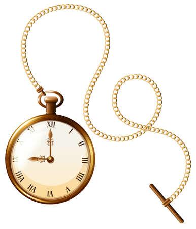 el tiempo: Cierre de diseño de lujo del reloj de bolsillo Vectores