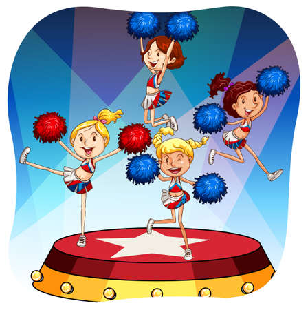 stage costume: Cheerleaders performing on a stage