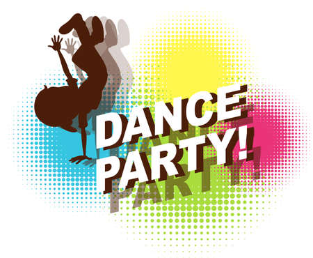 party: Dance party in retro design Illustration