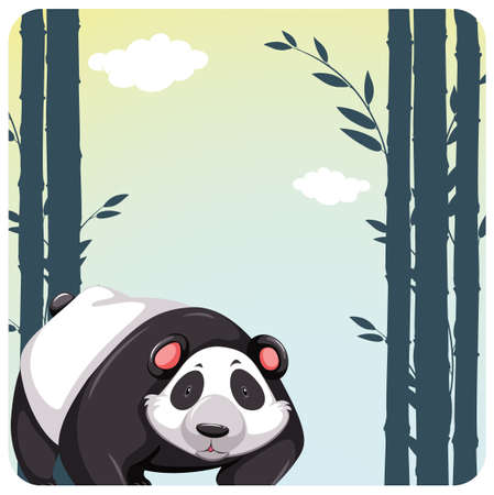 wild living: Cute panda standing in the bamboo forest