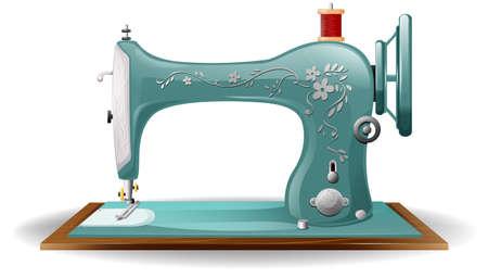 Blauwe kleur naaimachine met bloem ontwerp op het lichaam Stock Illustratie