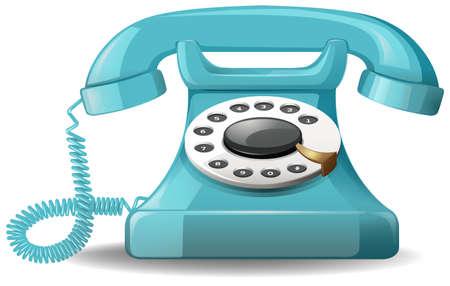 telefono caricatura: Cierre de diseño de la vendimia de teléfono azul Vectores