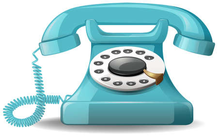 cartoon numbers: Close up vintage design of blue telephone
