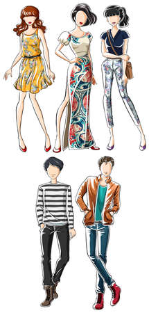 smart girl: Sketch of male and female in fashionable clothes