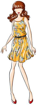 yellow dress: Close up female model wearing yellow dress Illustration