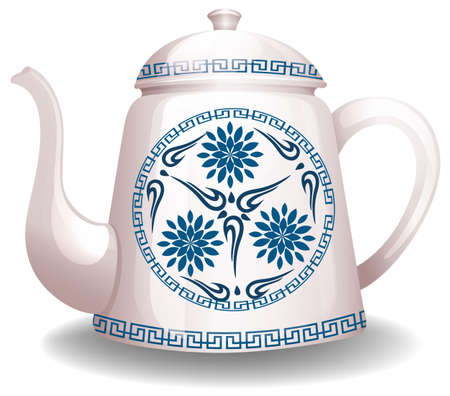ceremic: White kettle with flower design on white background