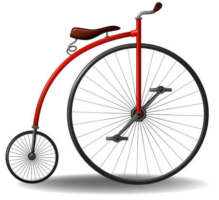 pollution free: Red retro bicycle on a white background
