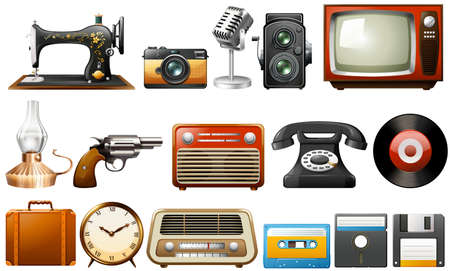 Different kind of objects in vintage design Vector