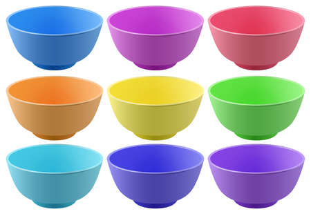 yellow orange: Plastic bowls in nine different colors