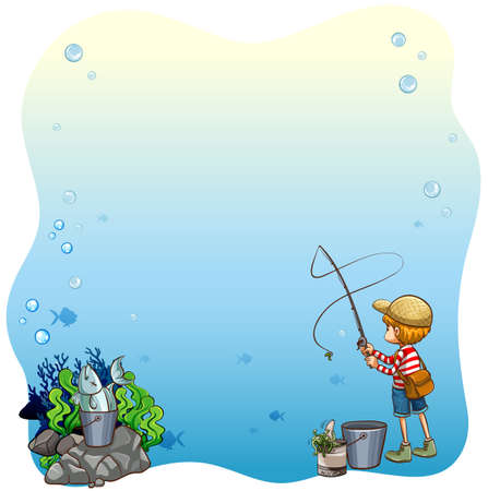 fishing pole: Writing space with boy fishing alone background