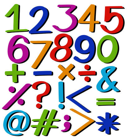 numbers: Set of numbers and symbols on a white background