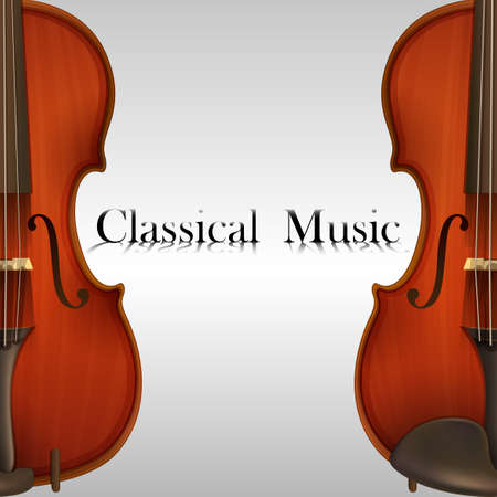 violins: Poster of Classical Music with two violins Illustration