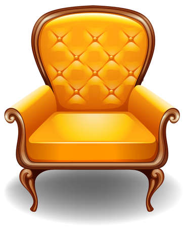 armchair: Closeup luxury design of yellow armchair