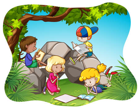 Children reading and writing in the park 일러스트